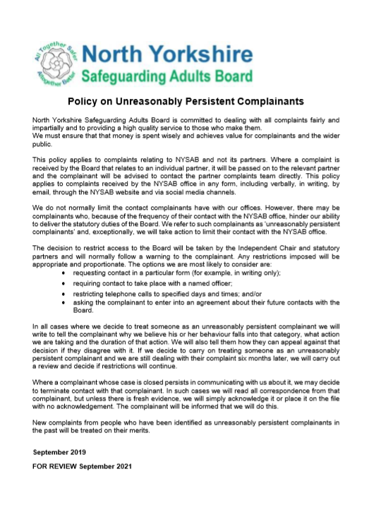 Policy on Unreasonably Persistent Complainants