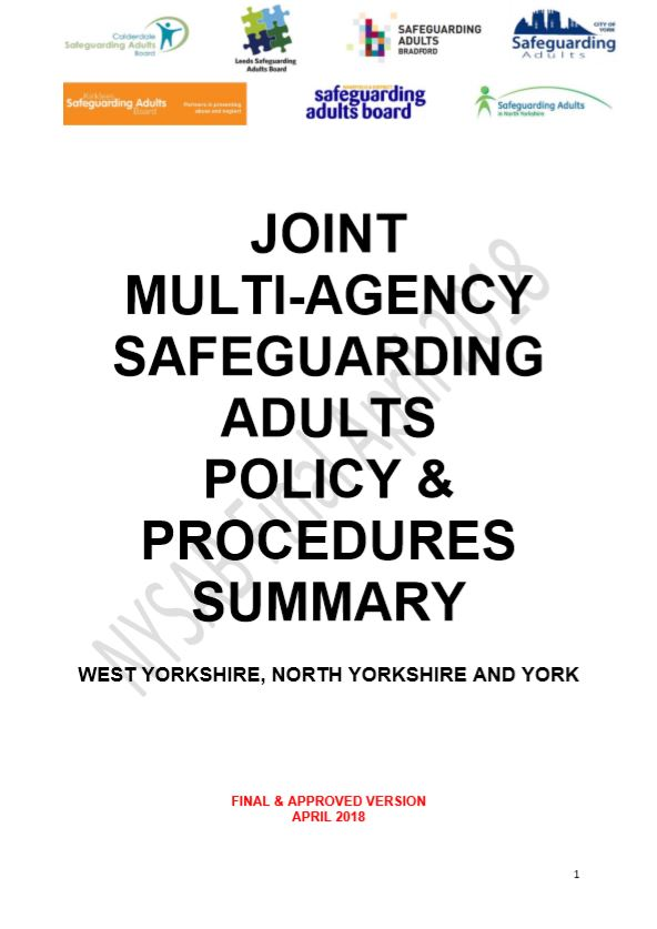 NYSAB Joint MA Safeguarding Adults Policy Procedures launching October 2019
